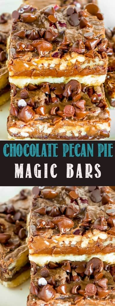 Chocolate Pecan Pie Magic Bars have a buttery, flakey crust and a rich, fudgy chocolate filling, loaded with pecans! An easy, impressive holiday dessert!