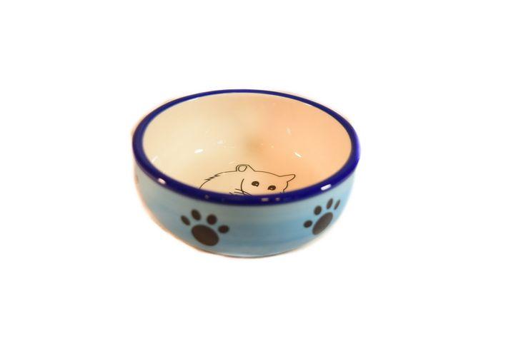 Petmax Миска для грызунов 10см голубая керамика