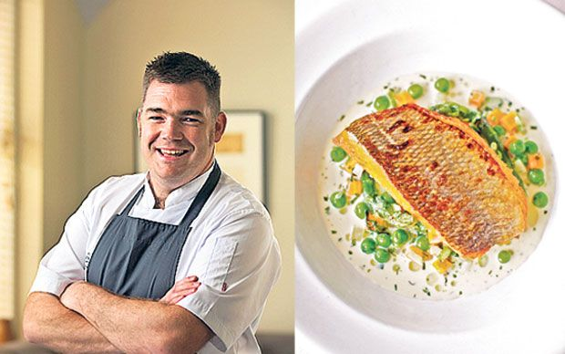 Chef Nathan Outlaw loves this pan-fried bream with spring vegetable nage.