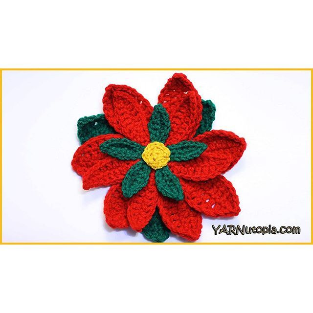 Today we kick off the 12 Days of Christmas Crochet Tutorials, starting with this poinsettia flower that would make a great addition to any holiday decor or gift topper! Enjoy! ~Nadia  Follow the link in the bio to my blog to make yours today!  #crochet #crocheted #yarn #YARNutopia #imadethis #handmade #diy #crafty #yarnballs #yarnball #fiber #poinsettia #flower #flowers #flowerpower #spanish #mexican #layeredflower #crochetflower #christmas #santaiscomingtotown #christmastree #christmastime…
