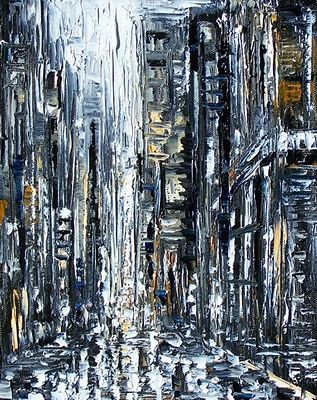 Abstract Cityscape art painting night rainy New York by Debra Hud, painting by artist Debra Hurd