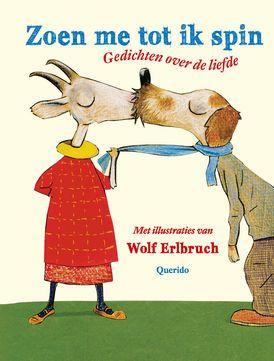 Zoen me tot ik spin - Hoe maak je duidelijk dat je iemand heel erg leuk vindt? Wolf Erlbruch doet dat met prenten van verliefde en zoenende dieren. Ze versterken wat in de prachtige gedichten onder woorden wordt gebracht: ik vind je lief.  Met liefdesgedichten van o.a. Simon van der Geest, Eva Gerlach, Judith Herzberg, Rutger Kopland, Bart Moeyaert, K. Schippers, Annie M.G. Schmidt, André Sollie, Toon Tellegen, Edward van de Vendel en Joost Zwagerman.