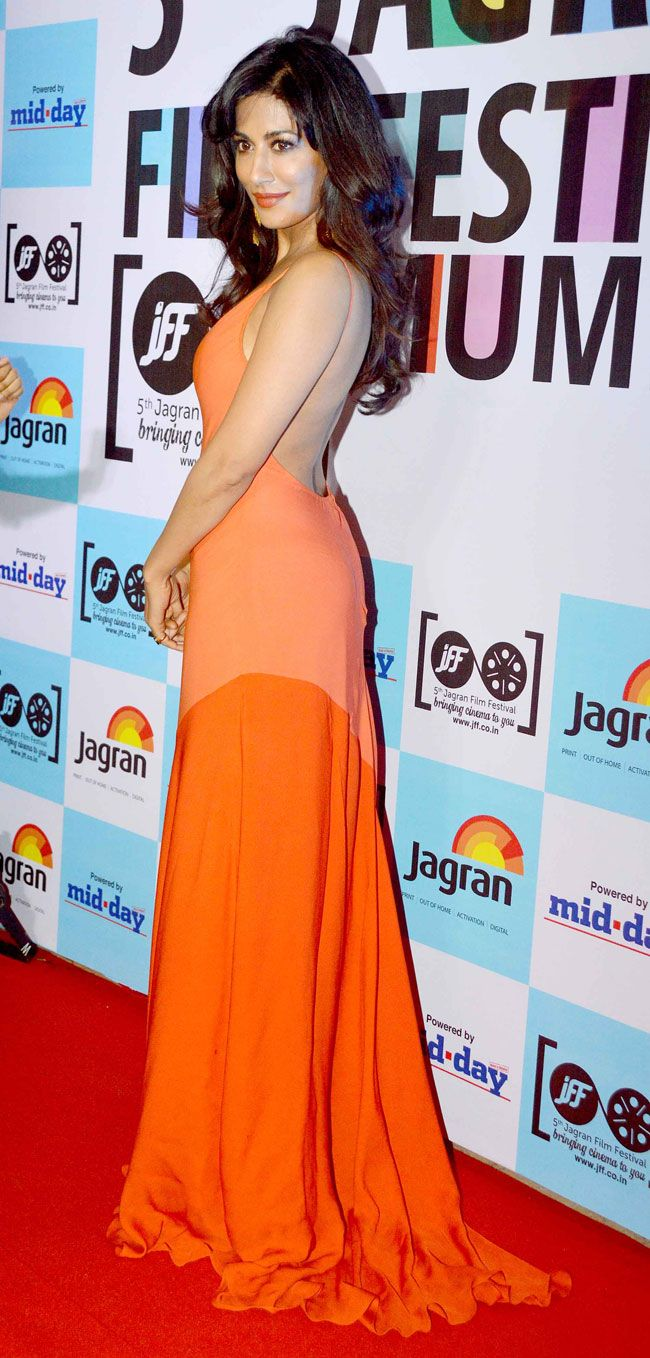 Chitrangada Singh looked gorgeous in a low-cut back dress by Sailex at 5th Jagran Film Festival launch party.