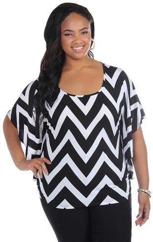 plus size flutter short sleeve kimono top with chevron print
