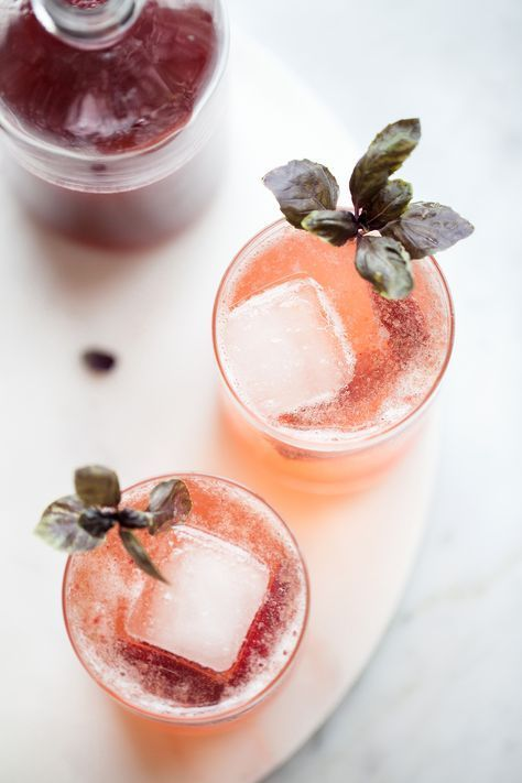 sparkling plumcot & purple basil shrubs