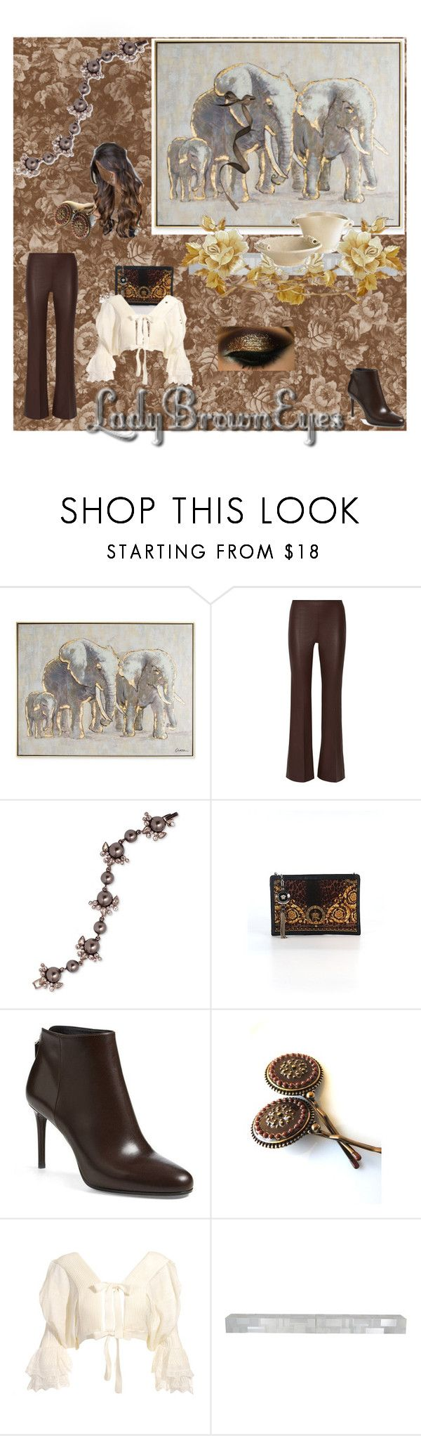 """""""Lady Brown Eyes"""" by adoreluna ❤ liked on Polyvore featuring Graham & Brown, By Malene Birger, Givenchy, Versace, Paul Mitchell, Prada, Sara Attali, Paul Evans and Pier 1 Imports"""