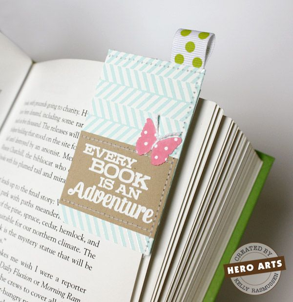 """To create the bookmark I folded a 4""""x3.25"""" piece of cardstock in half and sewed along the top and right edges.  The left side and bottom need to be left open so it can slide over the page.  Super easy!  I know I'll be making more of these."""