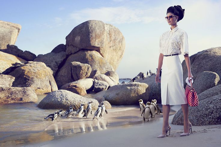 This is from an editorial published by TATLER -  a fashion shoot on Boulders Beach! I love this beach. The penguins that live there, and that handbag.