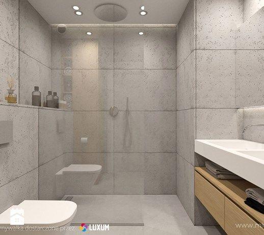 Nowoczesna łazienka - minimalistyczna aranżacja z betonem architektonicznym i umywalką podwójną na miarę - zdjęcie od Luxum