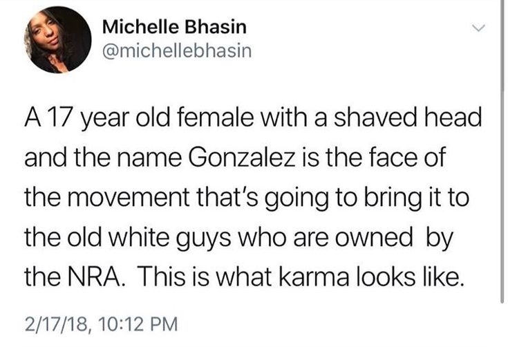 she's also bisexual and cuban and i love the fact that this young woman is our own representative for what really matters, and one of the many sticking it to old straight white male tools in the nra and wow tbh i'm so fascinated with and proud of all the parkland survivors standing up for what matters