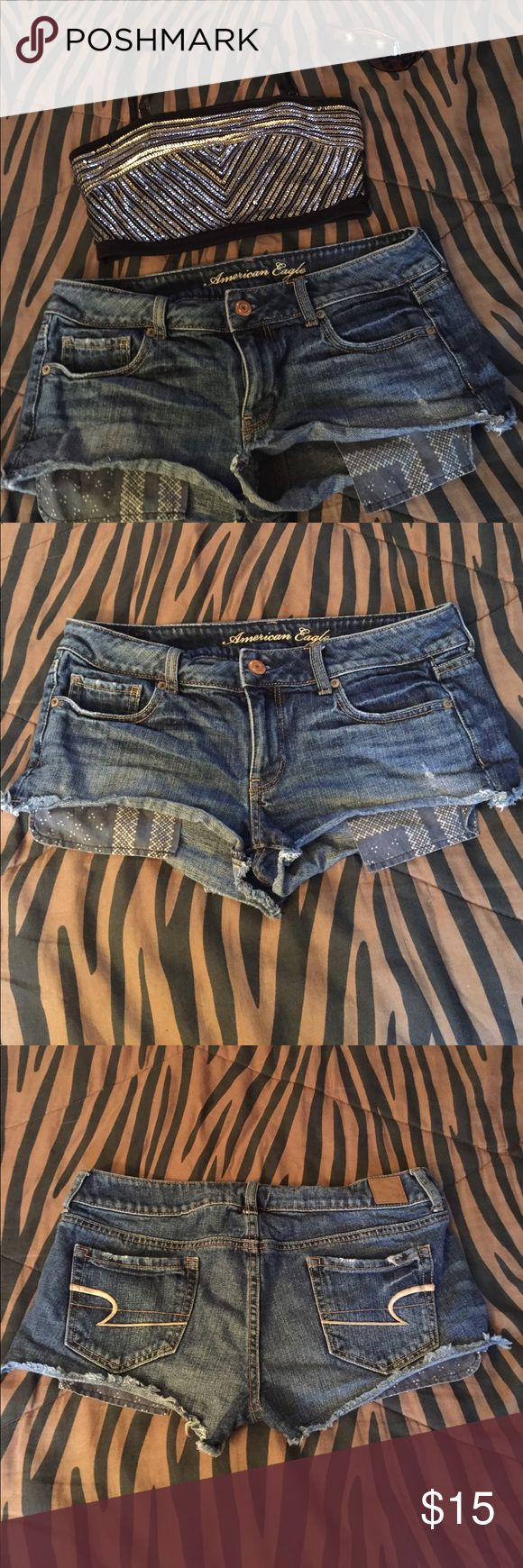 American Eagle Shorts Factory distressed and cut. They Need to be ironed out. They are too short for me but they are very cute Shorts. Dark denim. Measurements in pics. Willing to take reasonable offers!! And I do offer bundle discounts! Thanks for looking and Happy Poshing! American Eagle Outfitters Shorts Jean Shorts
