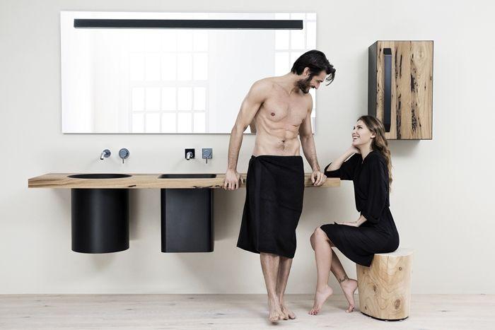 Abisso, Collezione di mobili d'arredo bagno di Atelier12 - Made in Italy bathroom design - wood + black steel + Cristalplant Biobased. Designed by Atelier12