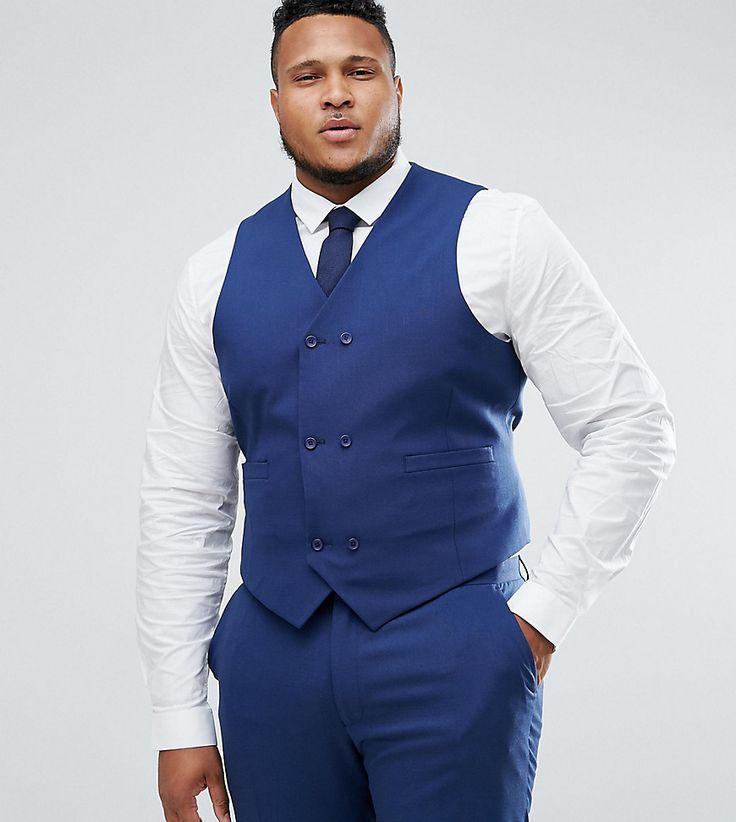 ASOS PLUS Wedding Skinny Suit Vest in Navy Cross Hatch with Printed Li