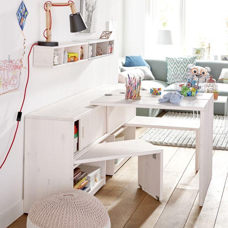 Rangement enfant multifonction : tables, bancs et étagères intégrés