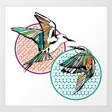 Moroccan Birds Giclée art print by Kerise Delcoure. This design is a bold and graphic depiction of two Australian Rainbow Bee Eater birds in flight, overlapping against Moroccan patterned graphics. The original artwork for this design is a pen and ink drawing which was digitally painted. Available at https://society6.com/kerisedelcoure and https://www.redbubble.com/people/kerisedelcoure.