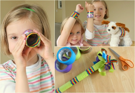 Bracelets and wands made from cute duct tape- Projects with 3M Designer duct tape