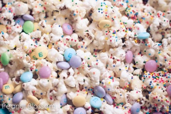 Birthday Cake Popcorn -we did this for Meg's class treat.  It was a nice change of pace and super simple!  We're doing it again for Josh's class, but will use waffle cone bowls for even more edible fun (and less trash)