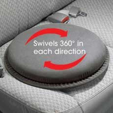 The Swivel Cushion is a device designed for individuals with back problems and possible lumbar deficits.  Not only is the device lightweight and portable but it turns 360 degrees in any direction to allow entry and exit of vehicles with ease.  The cost for this device by Health Living is $19.99