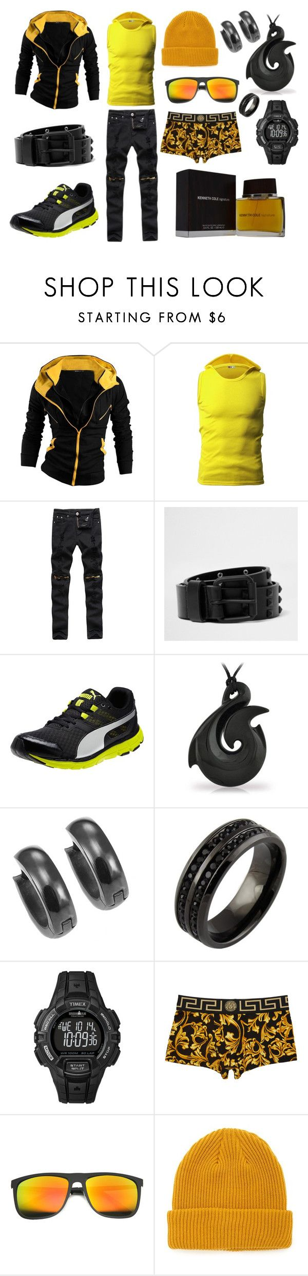 """""""Chase 203"""" by vipersden on Polyvore featuring River Island, Puma, Timex, Versace, ZeroUV, 21 Men, Kenneth Cole, men's fashion and menswear"""