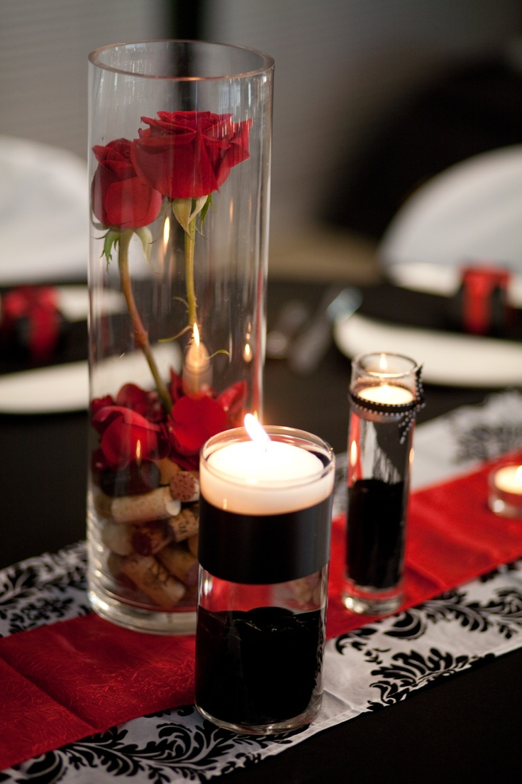 Red black white wine corks my wedding husband time for Black table centrepieces