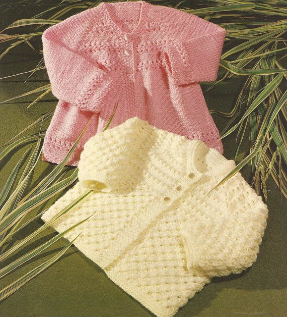 Vintage Babys Knitted Matinee Coats x 2 Knitting by georgie8109