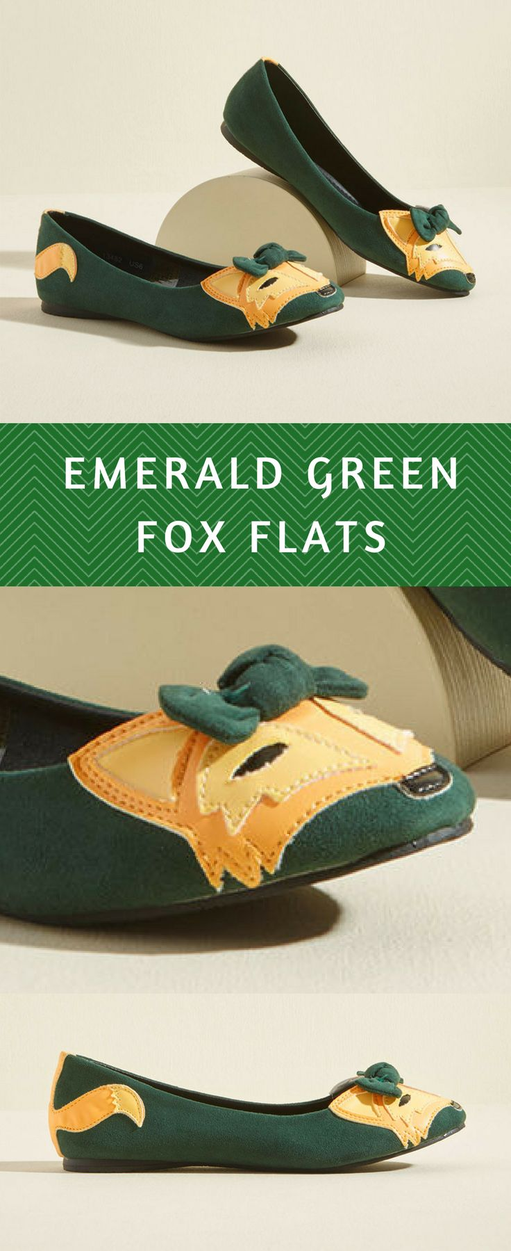 Super cute little fox shoes! A fox face on the toes with a little bow in her hair. Love. #green #flats #shoes #woodland #fox #cute #promoted