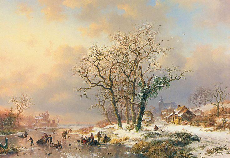 Frederik Marianus Kruseman - Winterlandschap met schaatsers op een bevroren rivier (1868)