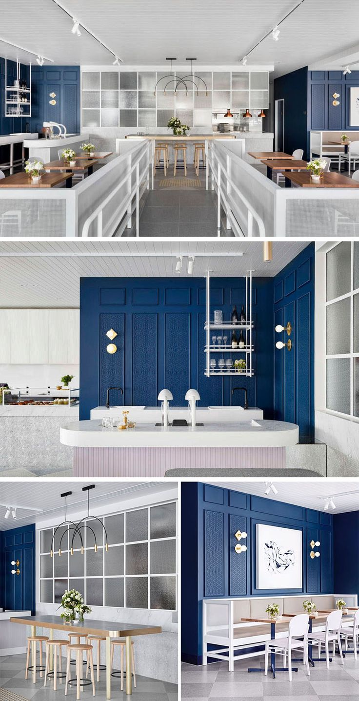 This contemporary coffee shop features royal blue walls with white and light pink accents.