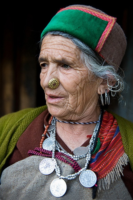 The Kinnaur people in the Himachal Pradesh, wearing traditional hat and dress