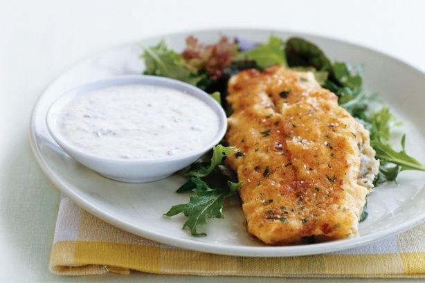 Oven-baked crispy fish with yoghurt tartare