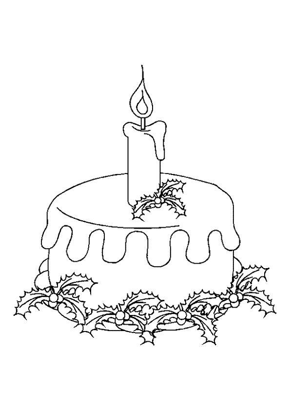 Le gâteau pour noël avec les guis, à colorier