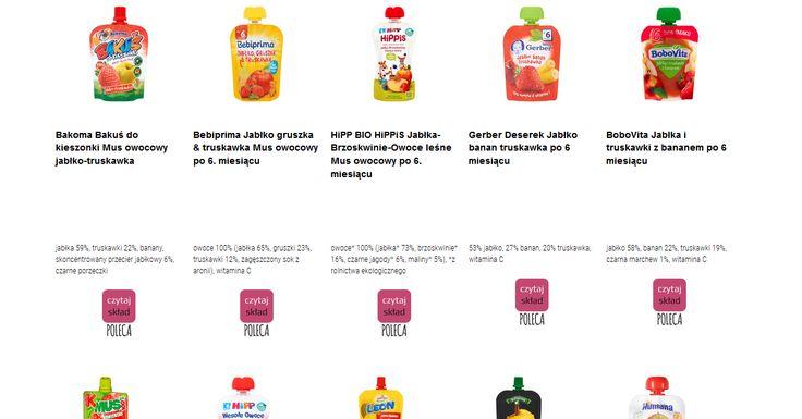 Czytamy skład i porównujemy etykiety produktów Musy owocowe. Zobacz skład i polecane produkty przez Czytaj Skład