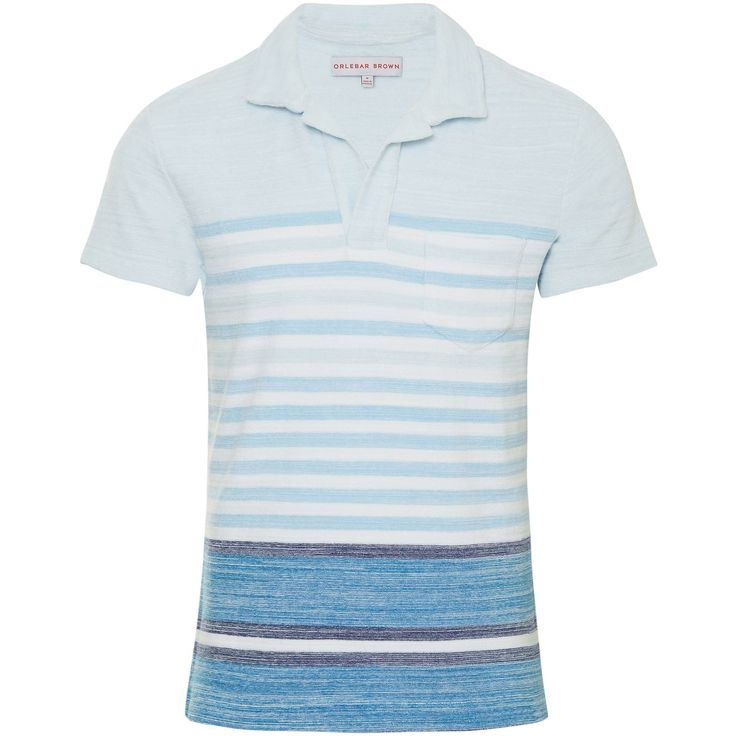 Orlebar Brown Terry Stripe Maritime | Polo Shirt | TRENDYGOLFUSA.COM