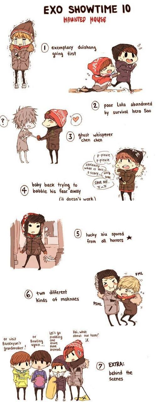 fanart of EXO who came to a haunted house lol..