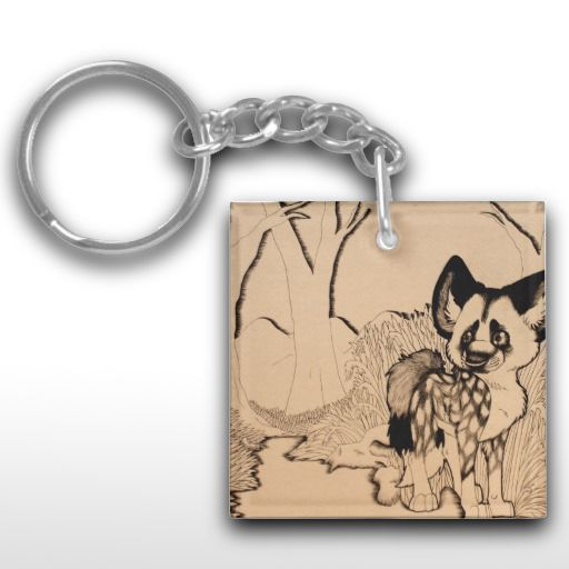 """Wasteland"" Illustrated African wild dog Keychain"