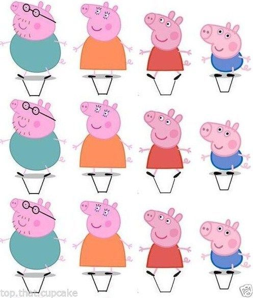 12x stand up Peppa Pig edible wafer cupcake cake toppers birthday