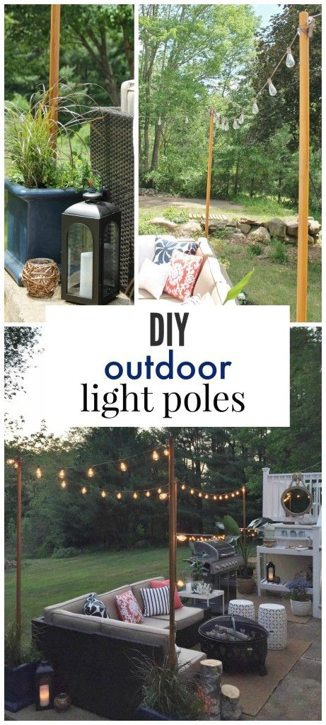 DIY outdoor light poles make for a magic space.