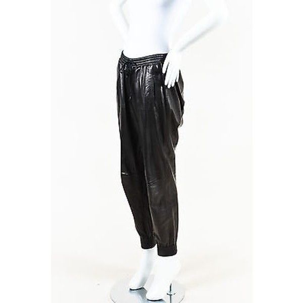 Pre-Owned Vince Black Leather Drawstring Tie Jogger Pants Sz M ($305) ❤ liked on Polyvore featuring pants, black, elastic pants, leather jogging pants, drawstring leather pants, drawstring jogger pants and real leather pants