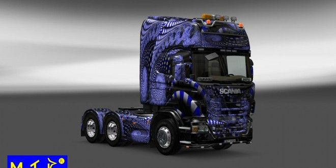 An amazing blue sin for Scania truck: Blue Ladder. Tested and work fine on ETS2 1.8.x. Many thanks to Maryva for this awesome skin!