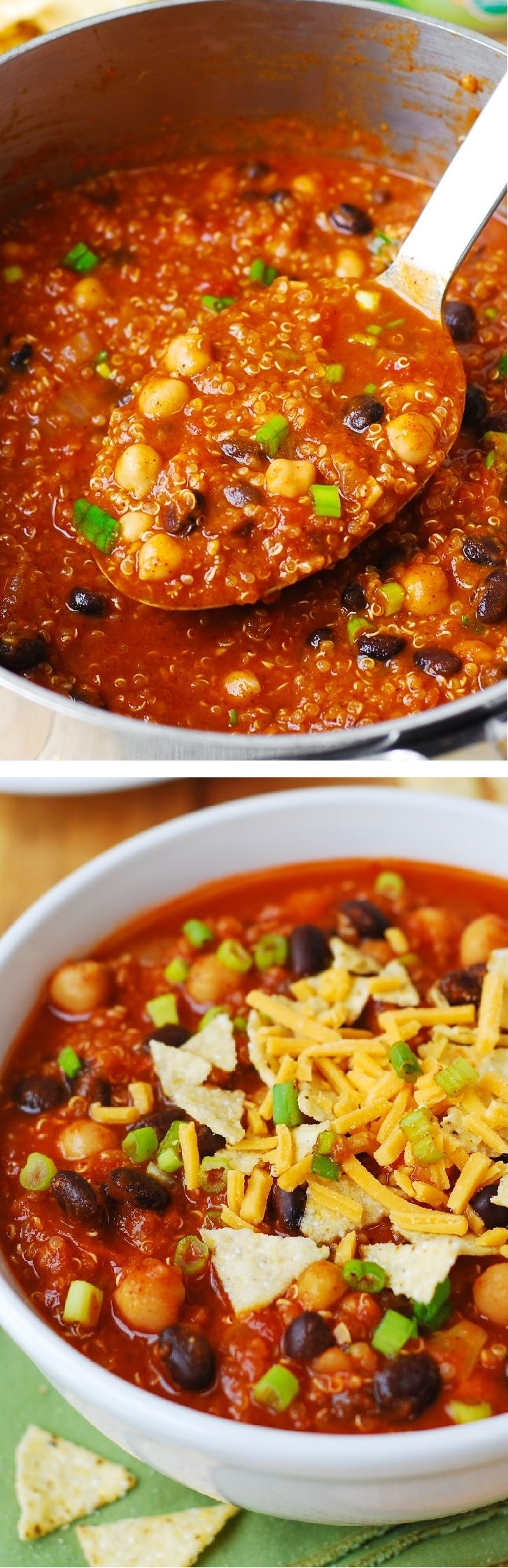 Delicious Pumpkin Quinoa Chili with Black Beans and Chickpeas (garbanzo beans) – a yummy vegetarian version of a regular chili – this recipe will keep you full and satisfied! Healthy and gluten free recipe.