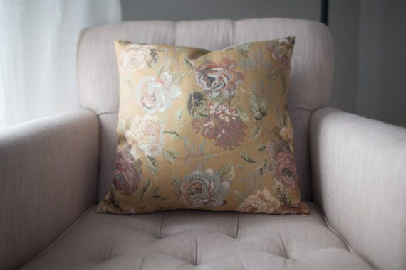Gold Floral Pillow Cover, Fair Trade + Refugee Made, Minimalist Pillow Case, 18x18 + 16x16, Farmhouse style, Anthropologie