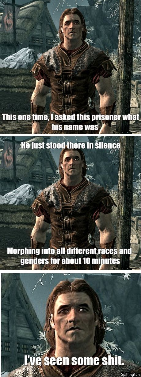 Hahaha. The beginning of skyrim..took me a few seconds to realize it..haha thats funny