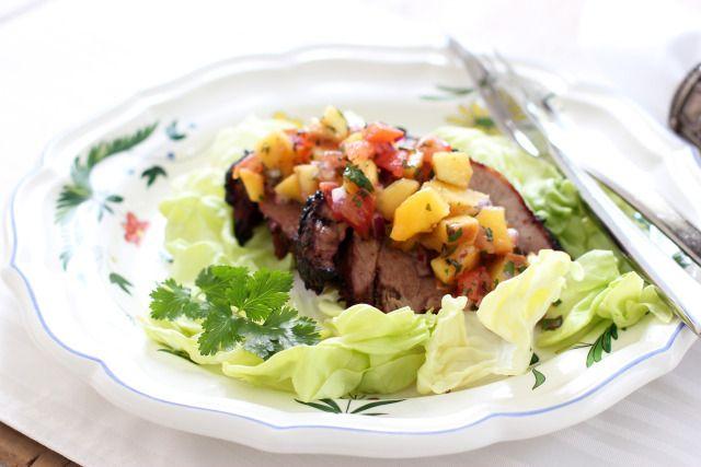 Grilled Pork Roast with Peach Salsa