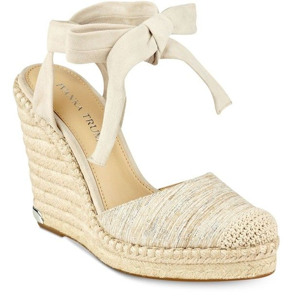 Ivanka Trump Winikka Espadrille Wedge Sandals ($140) ❤ liked on Polyvore featuring shoes, sandals, beige, wedge shoes, ankle tie espadrilles, wedge heel sandals, beach sandals and ankle tie sandals