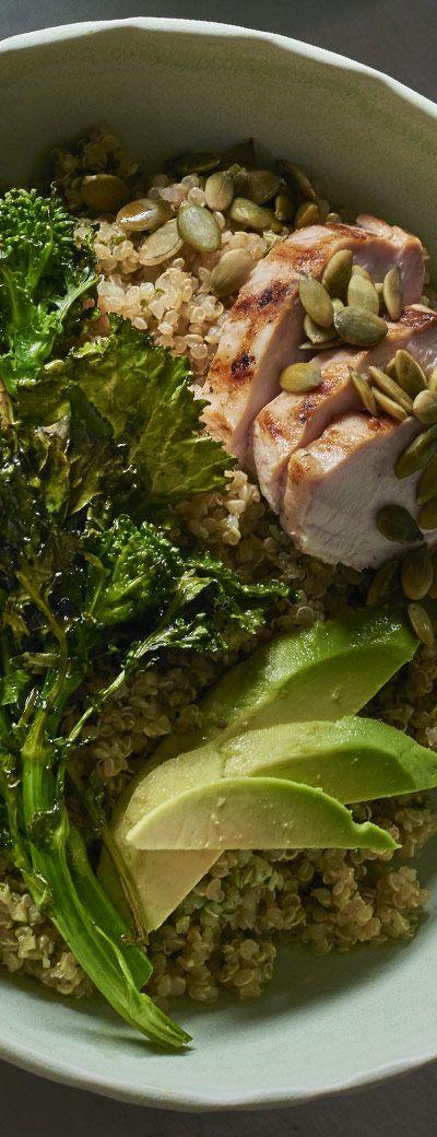 Roasted Broccoli Rabe, Grilled Chicken, Avocado, Pesto Quinoa and Pumpkin Seeds with Lemon Vinaigrette