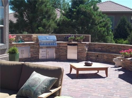 Built In Bbq, Backyard Kitchen  Outdoor Kitchen  Green Scapes Landscaping  Colorado Springs, CO