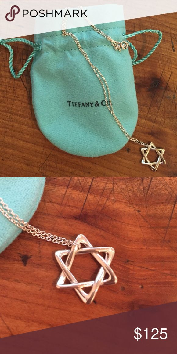 "Tiffany & Co. Star of David necklace No tags but in perfect condition. Authentic Tiffany Star of David pendant necklace, 16"" chain. Designed by Elsa Peretti Tiffany & Co. Jewelry Necklaces"