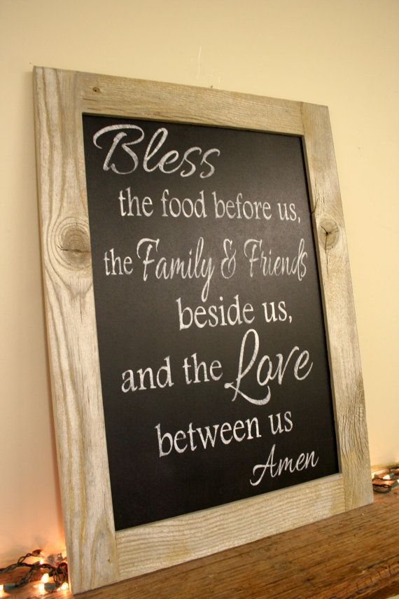 Bless The Food Before Us Chalkboard