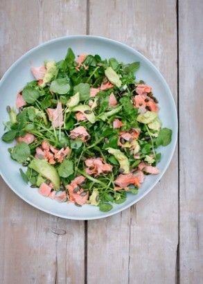 Salmon, Avocado, Watercress And Pumpkin Seed Salad: This is a regular lunch or supper at casa mia, as anyone who follows me on Twitter or Instagram will recognise. I like to use wild Alaskan salmon, which accounts for the vivid hue here. It doesn't have an exceedingly strong taste – I always feel it's as if the salmon is frozen while still alive, the waters must be so cold – but nor does it have that spooky flabbiness of farmed salmon.