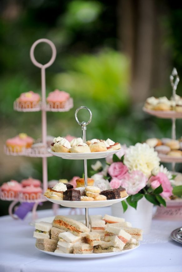 bridal shower teparty decorations%0A Tea time sandwiches are served on tiered trays are great for guests